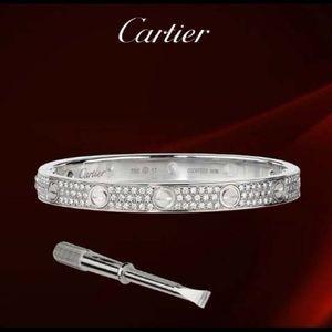 BNIB 18k White Gold Love Bracelet Full Diamond